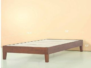Zinus Wen 12  Deluxe Wood Platform Bed Frame  Cherry Finish  Solid Wood Mattress Foundation with Wood Slat Support  No Box Spring Needed   Twin