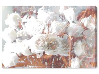 Runway Avenue Floral and Botanical Wall Art Canvas Prints  Rose Gold Feast  Home DAccor  60  x 40  White  Gold