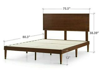 Zinus Deluxe Mid Century Wood Platform Bed with Adjustable height Headboard  no Box Spring needed  King