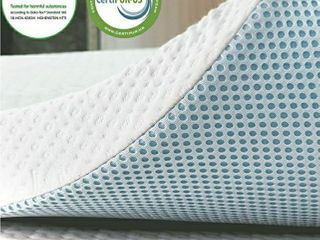 subrtex 3 Inch Gel Infused Memory Foam Bed Mattress Topper High Density Cooling Pad Removable Fitted Bamboo Cover Ventilated Design  Twin
