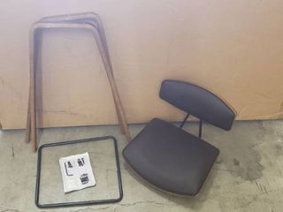 Small Black leather And Brown Wood Bar Stool  Missing Hardware  When Assembled It Stands 3ft Tall