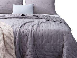 Kasentex Quilt Bedspread Set Ultra Soft Machine Washable Hypoallergenic  King   Grey