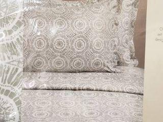 Melange Home 400 Thread Count 100  Cotten Full Queen 1 Duvet Cover 90  x 90  2 King Shams 21  x 37