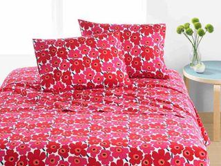 Marimekko Unikko Cotton Percale Bed Sheet Set  Deep Red   3 Piece   Twin Xl