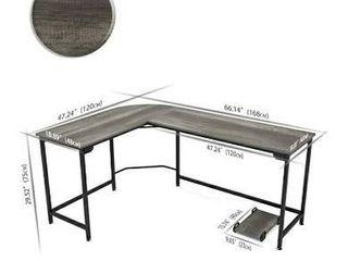 Teraves Modern l Shaped Desk Corner Computer Desk Home Office Study Workstation Wood   Steel PC laptop Gaming Table