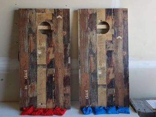 Cornhole Set Wood Print Cover Rustic Outdoorsy look