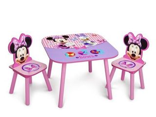 Delta Children Disney Minnie Mouse Wooden 3 Piece Table and Chair Set  Pink