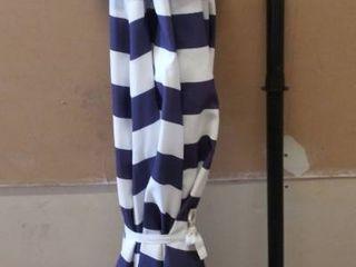 SunnyGlade 9ft Patio Umbrella   Blue   White Stripes   Damaged