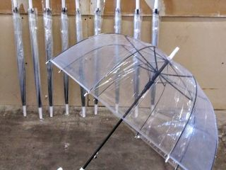WASING 10 Pack Clear Bubble Umbrella large Canopy Transparent Stick Umbrellas
