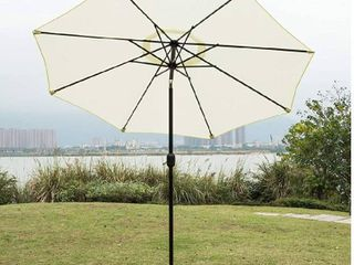 Sunnyglade 9  Patio Umbrella Outdoor Table Umbrella with 8 Sturdy Ribs  Ivory    Base Not Included