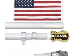 American Flag Pole Kit 3 x5  US Nylon Flag  Wall Mount   Bracket   6  Silver Brushed Aluminium Pole for Outdoor or Indoor Use   2 Clips are Broken