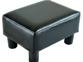 Porch   Den Meadow Modern Small Black Faux leather Ottoman   Footrest Stool