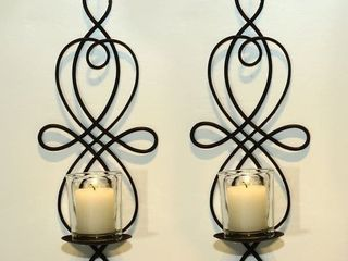 Adeco Brown Iron Vertical 12  Wall Hanging Candle Holder Sconce  Set of 2