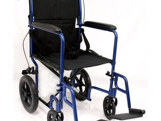 Karman lT 1000HB lightweight Transport Chair with Companion Brakes  Blue