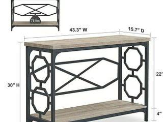 O K Furniture Narrow Sofa Table with Storage Shelf  Farmhouse Hallway Console Table for Entryway
