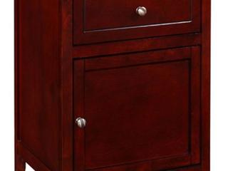 Izzy Transitional Cherry 1 Drawer 1 Door Nightstand cherry brown
