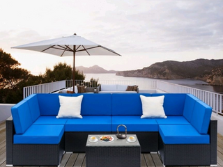 Rattan 7 piece outdoor sectional  Blue