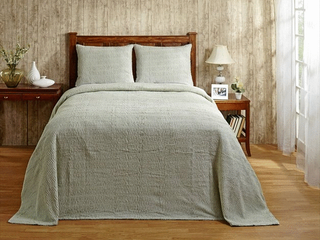 Better Trends Pan Overseas Natick 100  Cotton Chenille Tufted Bedspread  Full  96  by 110  Sage