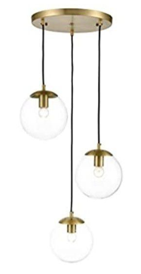 light Society lS C255 BB Cl Zeno 3 light Pendant lamp in Brushed Brass and Clear Glass Globes with Adjustable length Cords  Retro Mid Century Modern Style Chandelier