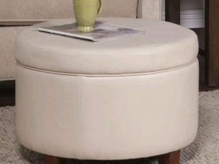 Porch   Den Rockwell large Ivory Faux leather Round Storage Ottoman  Retail 99 49