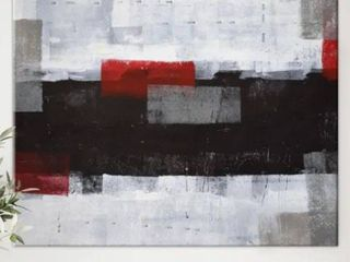 Designart  Grey and Red Abstract Art Painting  Modern Canvas Wall Art   20 in  wide x 12 in  high