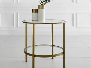 Gold Aimee Glass Side Table  Retail 132 29