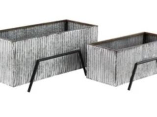 set of two industrial rectangular silver planters