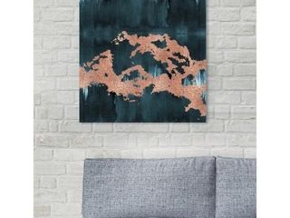 Oliver Gal  Cloudy with a Chance of Glam Copper  Abstract Wall Art Canvas Print   Pink  Green Retail 122 99