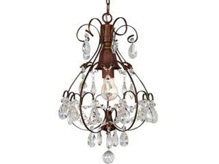 Copper Grove lutea Brushed Oak 1 light Teardrop Crystal  Wood