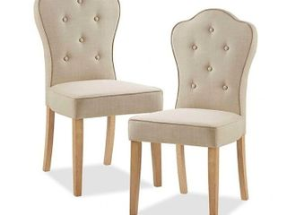 Madison Park Polyester Upholstered lisa Dining Chairs in Beige multi  Set of 2