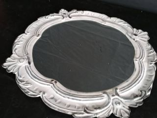Streeter Floral Cottage Distressed Accent Mirror  White Metal  Dimensions 26 77  H x 25 98  W x 0 59   slightly damaged see pictures