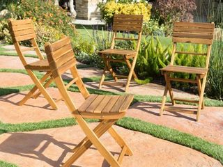 Positano Outdoor Acacia Wood Folding Dining Chair  Set of 2  by Christopher Knight Home   Retail 216 99