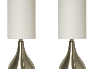 light Accents Table lamp Modern 18 Inches Tall with 3 way Switch Feature and White Fabric Drumshade  2 Pack Set
