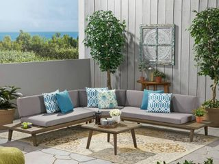 Hillcrest Outdoor 4 piece V Shaped Wood Sectional Sofa Set with Cushion by Christopher Knight Home