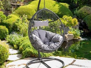 Kylie Outdoor Wicker Hanging Basket Chair by Christopher Knight Home Black no cushion