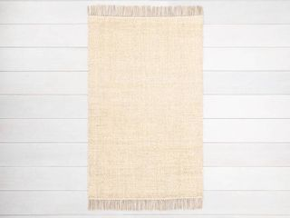 2  x 3  Bleached Jute Rug with Fringe   Hearth   Hand with Magnolia