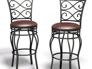 Set of 2 Copper Grove Esperance Swiveling Vintage Bar Chairs