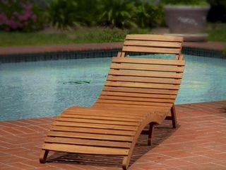 lahaina Outdoor Acacia Wood Chaise lounge by Christopher Knight Home  Retail 128 99