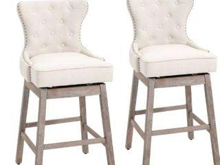 HOMCOM Vintage Pub Bar Stool 2PCs Set 180A Swivel Chair With Footrest Rubber Wood linen  Retail 242 49