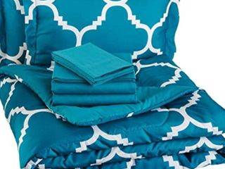 light Weight Microfiber Bed In A Bag Comforter Bedding Set   Full or Queen  Teal Trellis