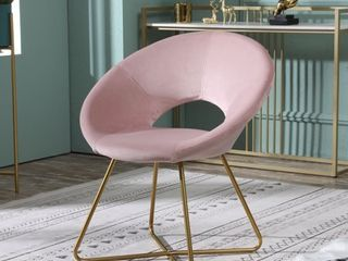 Slatina Pink Silky Velvet Upholstered Accent Chair with Gold Tone Finished Base