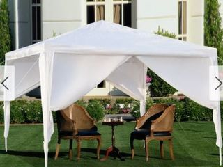 White 10x10ft Upgraded Outdoor Gazebos Wedding Party Canopy Tent 0 3 4 Sides