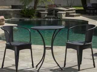 lourdes Outdoor 3 piece Cast Bistro Set by Christopher Knight Home