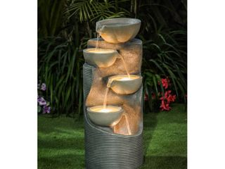 Cement Modern Tiered Bowls Outdoor Patio Fountain with lED light