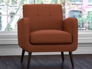 Handy living Kingston Mid Century Orange linen Arm Chair