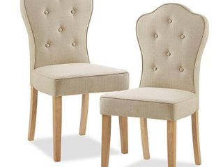 Pair of Madison Park Esther Beige Multi Dining Chair   19 5 w x 23 5 d x 39 5 h  Retail 215 99