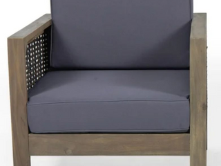 linwood Outdoor Acacia Wood Club Chair with Wicker Accents by Christopher Knight Home   Gray Finish   Mixed Gray   Dark Gray