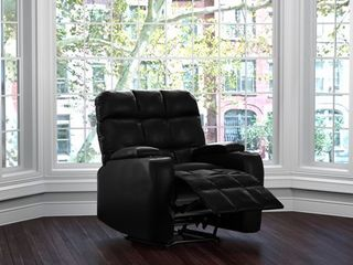 Prolounger Power Wall Hugger Storage Recliner Chair Black Renu leather  Retail 531 99