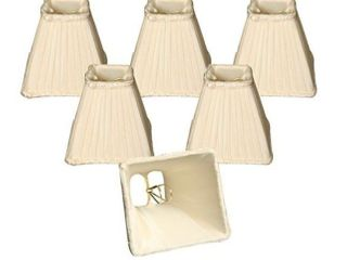 Royal Designs 5  Sharp Square Pleated Chandelier lamp Shade  Eggshell  Set of 6
