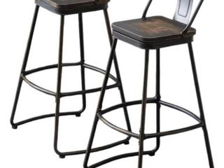 Andeworld distressed wood and metal stools Set of 2